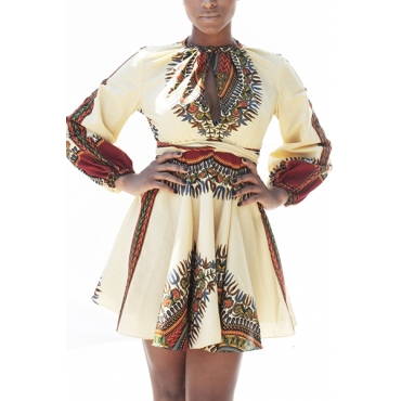 Ethnic Style Round Neck Long Sleeves Totem Printed White Polyester Mini Dress