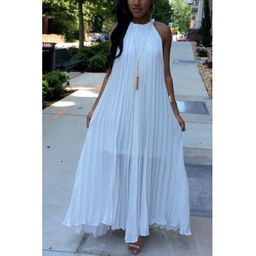 Stylish Round Neck Dew Shoulder Sleeveless White Chiffon Floor Length Dress(Without Accessories)