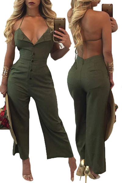 Sexy V Neck Backless Army Green Cotton One-piece Jumpsuits