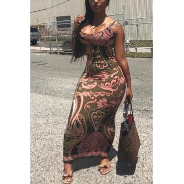 Sexy Printed Backless Milk Fiber Sheath Floor Length Dress