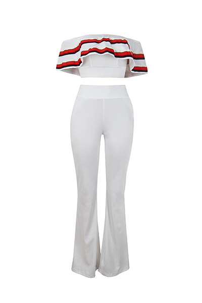Sexy Dew Shoulder Patchwork White Healthy Fabric Two-piece Pants Set