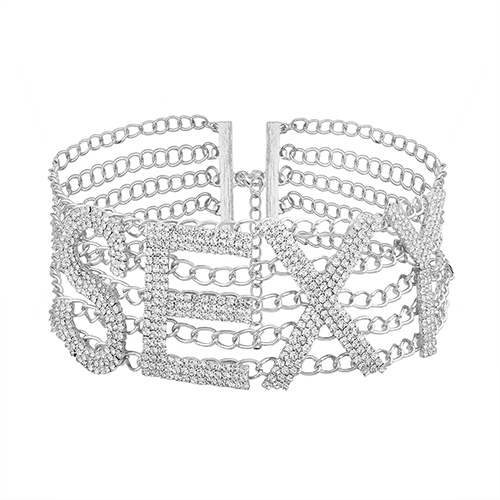 Fashion Hollow-out White Crystal Necklace