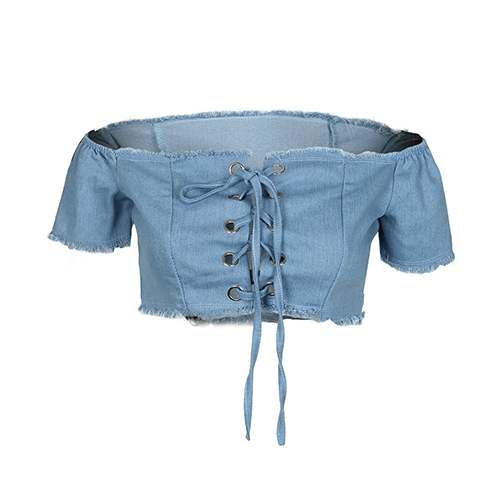 Sexy Dew Shoulder Lace-up Hollow-out Light Blule Denim Shirts