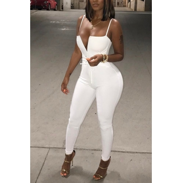 Sexy Dew Shoulder White Healthy Fabric One-piece Jumpsuits