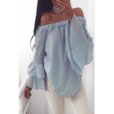 Stylish Dew Shoulder Long Sleeves Falbala Design Blue Chiffon Shirts