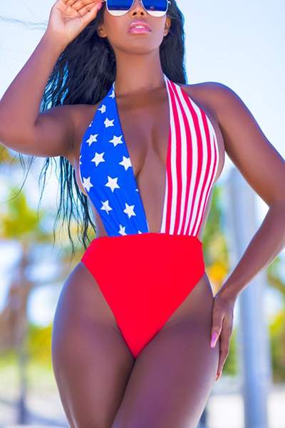 Euramerican Patchwork Polyester One-piece Swimwear