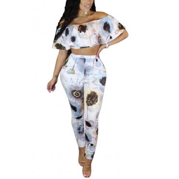 Fashion Dew SHoulder Printed White Milk Fiber Two-piece Pants Set
