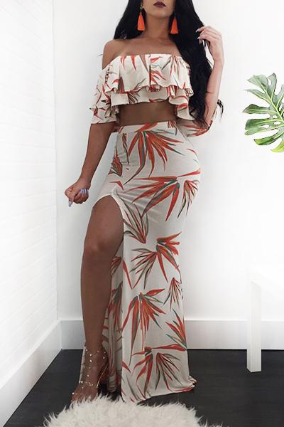 Euramerican Bamboo Printing White Milk Fiber Two-piece Skirt Set(Non Positioning Printing)<br>