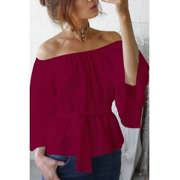 Stylish Dew Shoulder Wine Red Polyester Shirts(With Belt)
