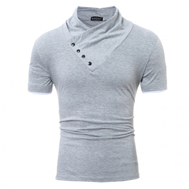 Leisure Turtleneck Short Sleeves Buttons Decorative Light Grey Cotton T-shirt