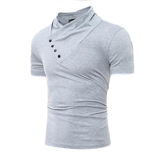 Leisure Turtleneck Short Sleeves Buttons Decorative Light Grey Cotton T-shirt
