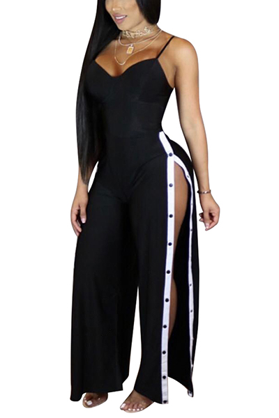 Sexy High Split Black Twilled One-piece Jumpsuits