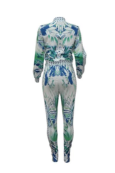 Stylish Mandarin Collar Long Sleeves Printed Green Healthy Fabric Casual Two-piece Pants Set