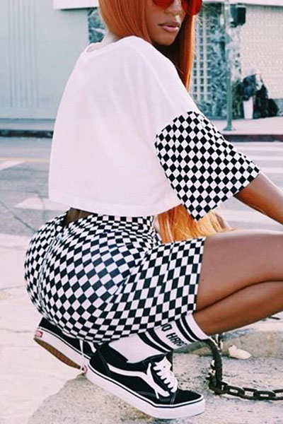 Leisure Round Neck Short Sleeves Printed Qmilch Two-piece Shorts Set