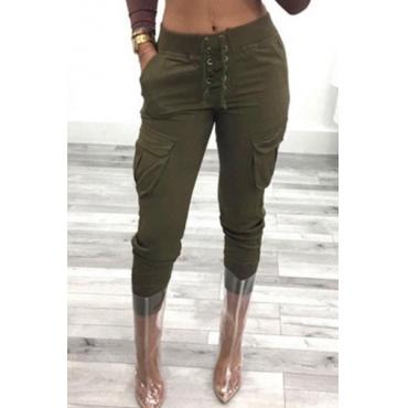 Leisure Elastic Waist Green Cotton Pants