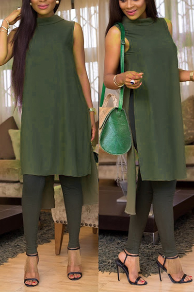 Stylish Turndown Collar Asymmetrical Army Green Blending Shirts