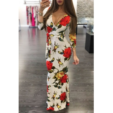 Sexy V Neck Floral Print White Cotton Sheath Ankle Length Dress(Non Positioning Printing)
