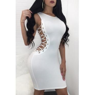 Sexy Round Neck Hollow-out Blanc Robe santé en tissu Robe longueur au genou