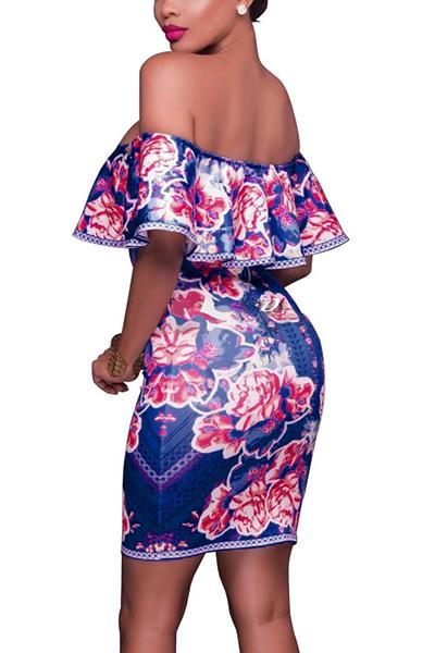 Euramerican Printed Falbala Design Blue Milk Fiber Sheath Mini Dress