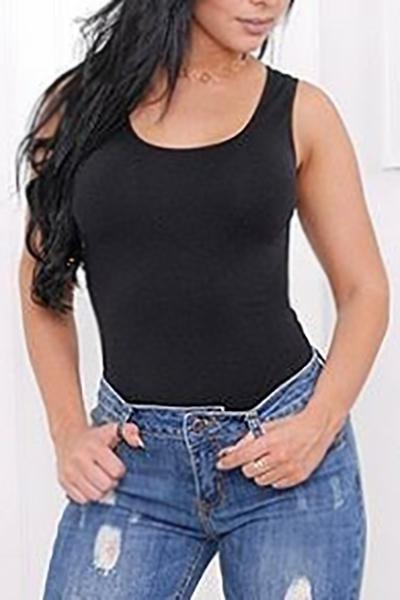 Cuello redondo sexy de algodón ahuecado Negro Tank Top