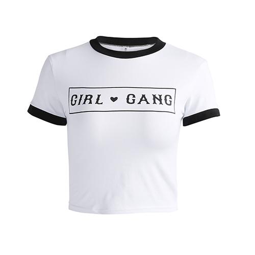 Leisure Round Neck Short Sleeves Patchwork White Cotton T-shirt