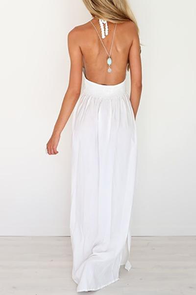 Sexy V Neck Backless White Chiffon Ankle Length Dress