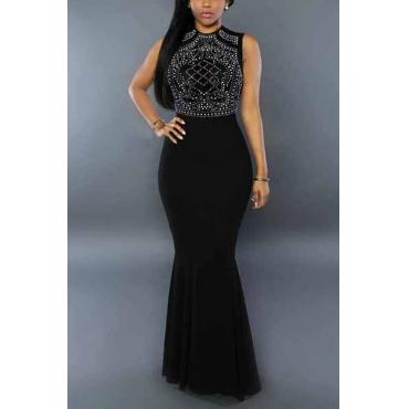 Stylish Round Neck Sleeveless Rhinestone Decorative Black Milk Fiber Sheath Ankle Length Dress