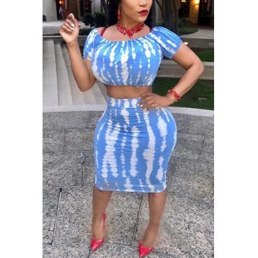 Euramerican Round Neck Short Sleeves Printed Blue Milk Fiber Two-piece Skirt Set