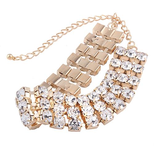 Fashion Rhinestone Decorative Gold Metal Necklace