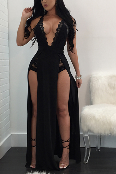 Sexy Deep V cuello alto de corte negro de leche de fibra de vaina tobillo vestido de longitud (sin escritos)