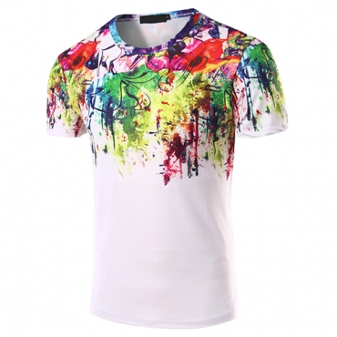 Casual Round Neck Short Sleeves Printed Cotton Blends T-shirt