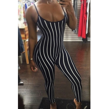 Sexy U-shaped Neck Striped Black Twilled One-piece Skinny Jumpsuits