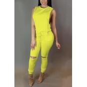 Trendy Round  Neck Tank Sleeveless  Zipper Design Drawstring Yellow  Polyester One-piece Jumpsuits