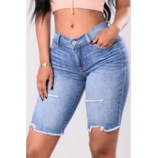 Stylish High Waist Light Blue Denim Shorts