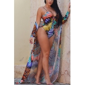Sexy Printed Lace-up Hollow-out Green Polyester One-piece Swimwear(With Contain Shawl)