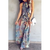 Polyester Bohemian O neck Tank Sleeveless Straight