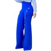 Stylish High Waist Buttons Decorative Blue Chiffon