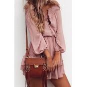 Chiffon Fashion Bateau Neck Long Sleeve A Line Min