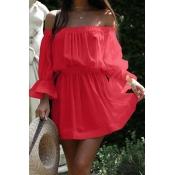 Euramerican Dew Shoulder Half Sleeves Red Cotton Blend Mini Dress