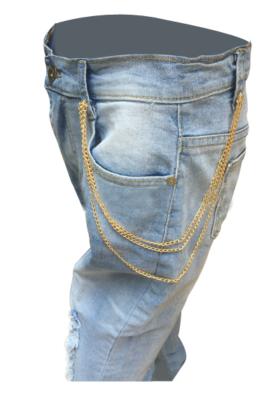 Fashion Mid Waist Broken Holes Light Blue Denim Pants