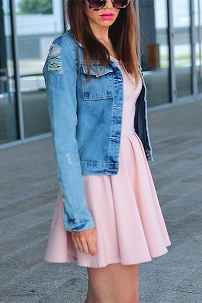 Stylish Turndown Collar Long Sleeves Cartoon Printed Blue Denim Coat