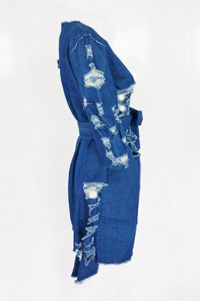 Ocio cuello redondo medio mangas azul denim mini vestido (con cinturón)