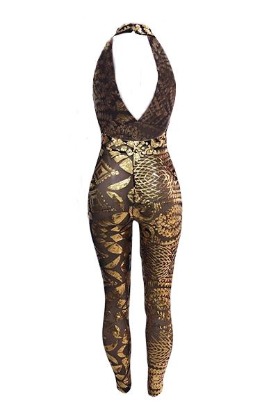 Sexy Deep V Neck Sleeveless Backless Gold Sequined de uma peça de macacão magro