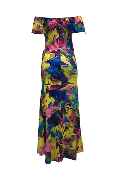 Qmilch Print Bateau Neck Short Sleeve Floor length Dresses