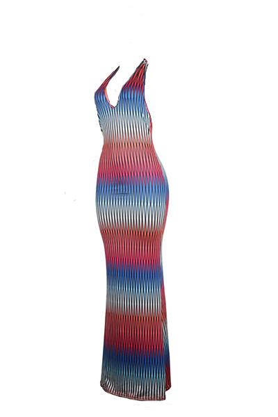 Sexy V Neck sans manches Impression numérique en laiton en soie robe de soirée en tissu