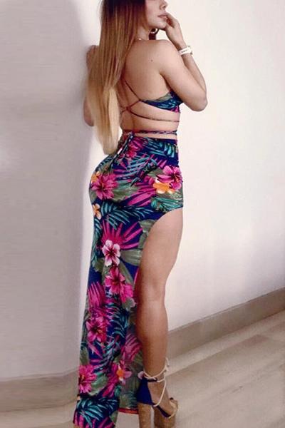 Sexy Printed Backless Blue Milk Fiber Two-piece Skirt Set