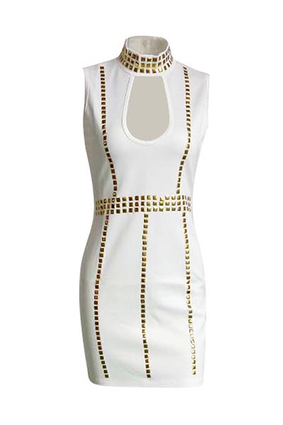 Charming Turtleneck Sleeveless Hollow-out White Healthy Fabric Sheath Mini Dress