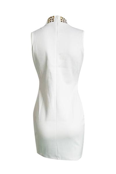 Charming Turtleneck mangas Hollow-out branco saudável tecido bainha mini vestido