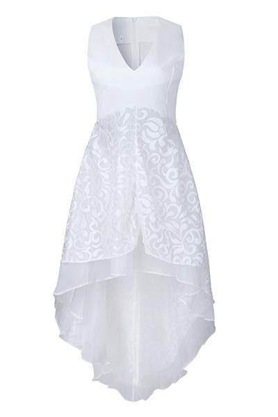 Gauze Sexy V Neck Sleeveless Ankle Length Dresses