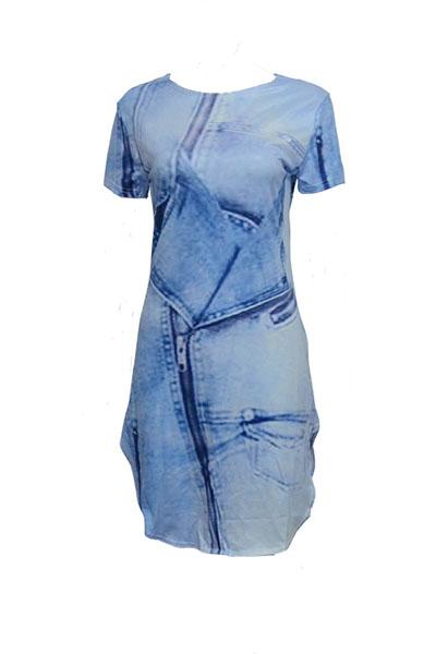 Manches courtes décontractées manches courtes Asymétrique Bleu Polyester Gaine Mini-robe